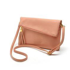Small Fold Over Mini Leather Crossbody Bag