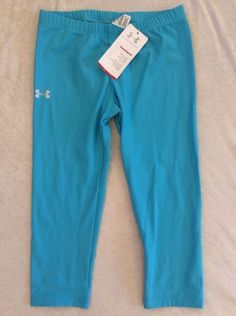 Under Armour Crops Small Womens Running Tights Heat Gear Turquoise Blue Nwt #UnderArmour #PantsTightsLeggings