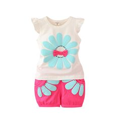 Top Quality Summer Baby Girls Clothing Set Bow Sunflower Vest Shirt+Shorts Kids Outfits Kids Clothes 1-4Y