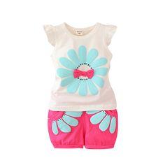 Conjuntos de Roupas de verão Da Criança Do Bebê Conjunto Roupa Da Menina Girassol Meninas Crianças Casuais Esporte Conjunto Terno em Conjuntos de roupas de Mãe & Kids no AliExpress.com | Alibaba Group