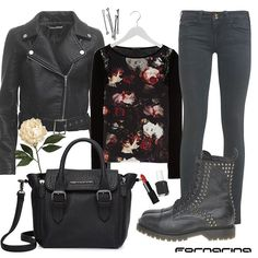Fornarina styling tips #Rock and romance style #studs #roses