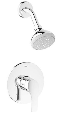 Grohe 35 014 2 Eurosmart New Pressure Balanced Shower Package with Multi-Functio Starlight Chrome Faucet Shower Only Single Handle