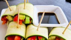 carrot+cucumber+red bell pepper+avocado rolled in zuchinni- dip in soy!