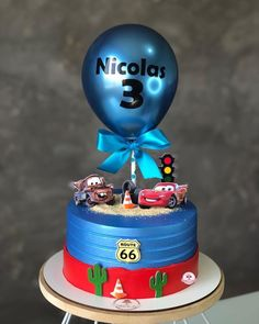 Baby Birthday Cakes, 1st Boy Birthday, Mini Cakes, Cupcake Cakes, Birthday Venues, Mcqueen Cake, Cartoon Cakes, Route 66, Cute Cakes