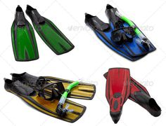 Set of multicolored flippers, masks, snorkel for diving with wat ...  Flippers, activity, aquatics, background, beach, black, blue, close-up, closeup, collection, cross, deep, dive, diving, droplets, drops, equipment, eye, eyewear, fins, foot, full, glasses, goggles, green, isolated, mask, multicolor, objects, plastic, protection, red, rubber, scuba, sea, series, set, snorkel, snorkeling, sport, summer, swim, swimfins, swimming, underwater, water, wear, wet, white, yellow