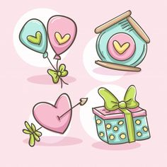 Valentines Day Doodles, Cute Valentines Card, Valentines Day Background, Happy Valentines Day, Doodles Bonitos, Cupid Love, Balloon Cartoon, Heart With Arrow, Cute Doodles