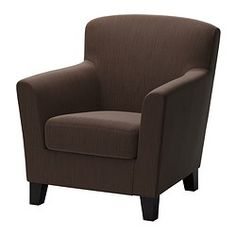 EKENÄS Armchair - Hensta dark brown - IKEA I sat on this chair today...very comfy even my rather over sized husband found it comfortable! That's a good sign