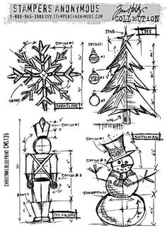 Stampers Anonymous - Tim Holtz Cling Mount Stamp - Christmas Blueprint