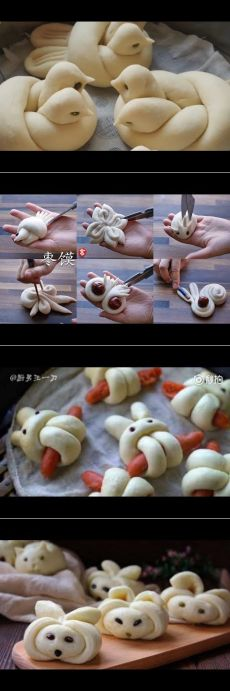 How to make bird bread - YouTu Bread And Pastries, Cute Food, Good Food, Yummy Food, Art Du Pain, Bread Shaping, Bread Art, Food Decoration, Snacks