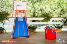 Keep your kids entertained and active with this DIY Basketball New Return by . For more original DIYs catch Home & Family every weekday at on Hallmark Channel! Diy Yard Games, Diy Games, Party Games, Basketball Court Flooring, Basketball Scoreboard, Home And Family Hallmark, Basketball Tricks, Fun Outdoor Games, Crafty Kids