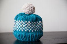 Bonnet en tricot Fair Isle Chunky | Chapeaux de tricot pour les femmes | Pom Pom bonnet | Chapeau de pom pom bleu sarcelle