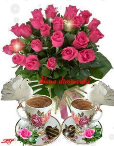Good Morning Love, Good Morning Quotes, Morning Greeting, Girl Cartoon, Coffee Drinks, Tea Cups, Night, Tableware, Roses