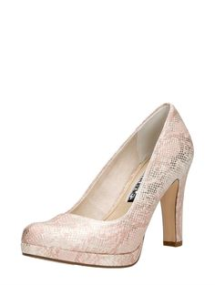 Tamaris elegante dames pump met een hak van 10 cm en subtiele reptielenprint - roze