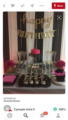 Black, white and gold birthday backdrop Kate Spade Party, 30th Birthday Parties, Birthday Ideas, 40th Birthday Decorations, Diy Birthday, Birthday Table, Birthday Stuff, Birthday Favors, Birthday Celebration
