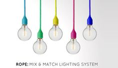 ROPE is a mix & match lighting system designed to bring the trend for colour-cord pendants into more homes. Customers can choose from three white metal styles of support: wall, floor & table, draping it with the chosen colour to create a unique lamp.