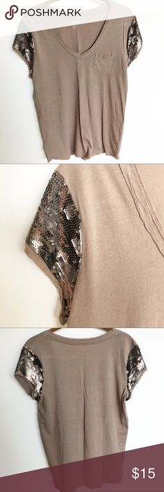 """LOFT sequin sleeve T shirt. Sz Med LOFT v-neck T-shirt with sequin cap sleeves. Small front pocket detail and raw edge neckline.  Taupe colored T-shirt with bronze sequins. Size Med  Armpit-to-Armpit: 18"""" Length: 26"""" LOFT Tops Tees - Short Sleeve"""
