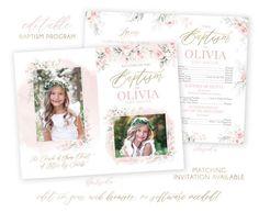 Christmas Card Template, Christmas Photo Cards, Holiday Cards, Lds Baptism Program, Baptism Invitations, Program Template, Baptism Pictures, Boy Baptism, Heart Designs