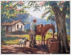 Art And Illustration, Farm Paintings, Landscape Paintings, Watercolor Paintings, Cenas Do Interior, Arte Country, Scenery Pictures, Cottage Art, Country Scenes