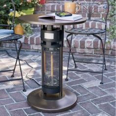Patio heater table ~ look for an electric one for the patio
