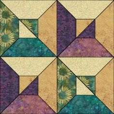 Optical Squares quilt block by Island Batik.  Downloadable PDF pattern/instructions.