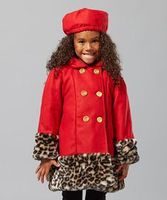 Take a look at this Red Leopard Swing Coat & Hat - Infant & Girls by Penelope Mack on #zulily today!