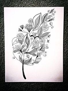 Leaf Zentangle 11x14 Pen and Ink Leaf Zentangle by DayDreamARTx