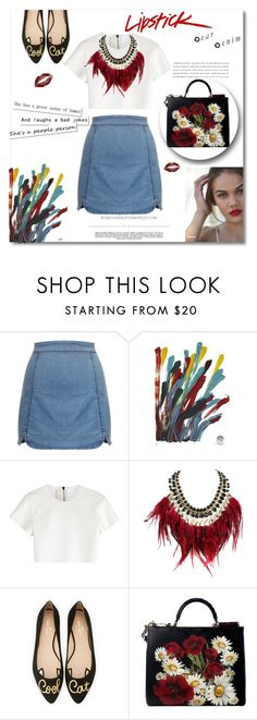 """Untitled #53"" by violin-player-12 ❤ liked on Polyvore featuring NOVICA, Neil Barrett, WithChic, Kate Spade, Dolce&Gabbana, Whiteley, cute, red and DenimStyle"