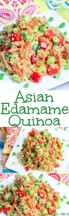 Healthy Asian Quinoa Salad recipe with Edamame - this high protein vegetarian and vegan dish is easy to make! It uses sesame oil soy sauce and honey for a clean eating dressing. Packed with veggies making it the perfect food for dinners lunches or appet Healthy Side Dishes, Vegan Dishes, Side Dish Recipes, Asian Recipes, Yummy Recipes, Healthy Salad Recipes, Vegetarian Recipes, Cooking Recipes, Vegan Meals