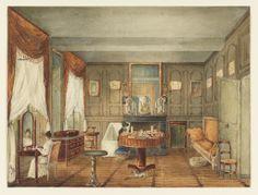 """Desenho, """"Vista de uma manhã Quarto Interior"""", ca.  1820-1825"""