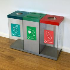 Our Box Cycle Triple with a food waste collection compartment and lift up lid to contain unwanted odours.