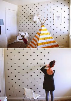 These criss-crossed pieces of Washi tape. | 21 Wall Art Projects That Are Actually Affordable