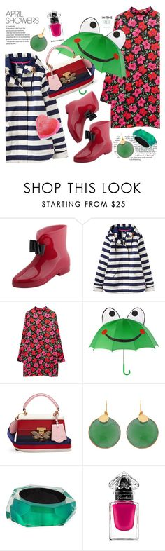 """Puddle Jumper: Rainy Day Outfit"" by esch103 ❤ liked on Polyvore featuring Joules, MANGO, KIDORABLE, Gucci, Alexis Bittar, Guerlain, Forever 21 and rainydayoutfit"