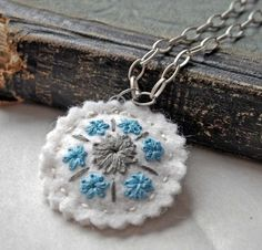 embroidered wool pendant