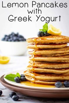 How to make soft, fluffy pancakes from scratch?  Use Greek yogurt and add lemons for the perfect Sunday Breakfast recipe #dizzybusyandhungry #lemon #pancakes #breakfast #sunday #brunch Best Breakfast Recipes, Savory Breakfast, Sweet Breakfast, Brunch Recipes, Sunday Breakfast, Sunday Brunch, Brunch Ideas, Lemon Pancakes, Yogurt Pancakes