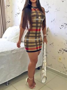 Ericdress Above Knee Plaid Round Neck Short Sleeve Sexy Sheath Dress, Curvy Outfits, Sexy Outfits, Sexy Dresses, Girl Outfits, Fashion Outfits, Revealing Dresses, Leder Outfits, Sexy Legs And Heels, Curvy Girl Fashion