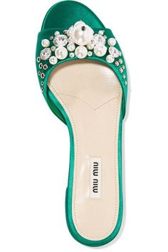 Miu Miu - Embellished Satin Slides - Emerald - IT38.5