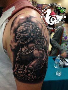 Black and gray Foo Dog tattoo fu dog lion dog tattoo