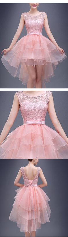 A-line Scoop Short Mini Organza Short Prom Dress Homecoming Dresses