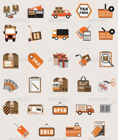 Flat eCommerce and Shopping Icon Vector Set by Cursor Creative House, via Behance #vector flat icons #ecommerce flat icons #icons #graphicriver #cursorch #free flat icon