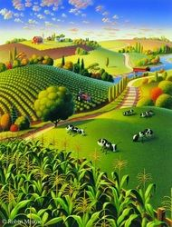Nature Inspired Illustrations By Robin Moline Abstract Landscape, Landscape Paintings, Farm Art, Naive Art, Whimsical Art, Art Plastique, Kitsch, Scenery, Canvas Art