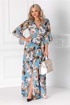 Rochii cu Imprimeuri Smart Casual, Wrap Dress, Floral, Dresses, Fashion, Women, Vestidos, Moda, Fashion Styles