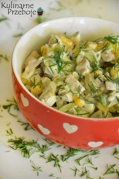 Sałatka z porem, kukurydzą i marynowanymi pieczarkami ze słoika Veg Recipes, Salad Recipes, Vegetarian Recipes, Cooking Recipes, Healthy Recipes, Appetizer Salads, Appetizer Recipes, Appetizers, Vegetable Salad