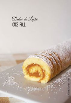 Dulce de Leche Cake Roll - this delicate dessert recipe for a soft and light cake roll is filled with creamy, sweet dulce de leche. A yummy treat anytime of year.