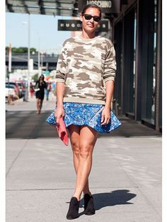Marlien Rentmeester Topshop camo sweater Three Floor dress Zara shoes  #NYFW Street Style | Spring 2014 Fashion Week #Spring2014