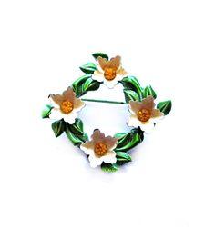 Vintage Rhinestone Pin, Enamel Flower Brooch