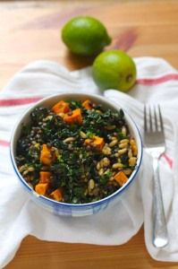sweet potato, lentil, and kale salad with chipotle lime dressing // the muffin myth