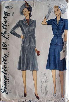 Simplicity 4075 pattern 1940s 2 Piece Suit Hip by RumbleSeatCat