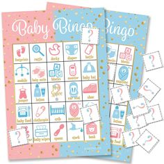 SET INCLUDES: 24 baby gender reveal bingo player cards with gold accents, question mark player chips, calling chips, and game instructions. Gender Reveal Party Games, Gender Reveal Party Supplies, Gender Reveal Balloons, Gender Reveal Decorations, Gender Party, Baby Shower Gender Reveal, Reveal Parties, Gender Announcements, Baby Bingo