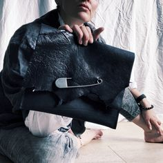 Black Clutch, Black Tote, Black Leather Bags, Leather Pouch, Cowhide Leather, Tan Leather, Baby Nappy Bags, Slouch Bags, Edgy Outfits