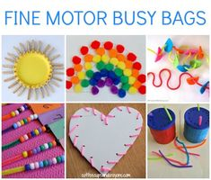 Practice Fine Motor Skills with Preschool and Kindergarten Busy Bags! http://www.coffeecupsandcrayons.com/fine-motor-busy-bags-kids/